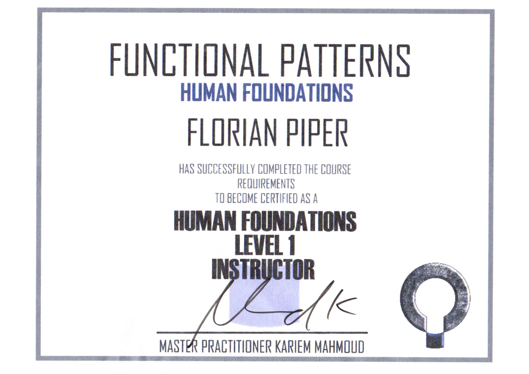 Zertifikat Functional Patterns Human Foundation  Level 1 Instructor